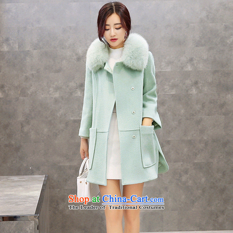 Sin has 2015 winter clothing new Korean girl in gross? jacket long Fox Nagymaros for Sau San Cashmere wool a wool coat of ground cardamom green M