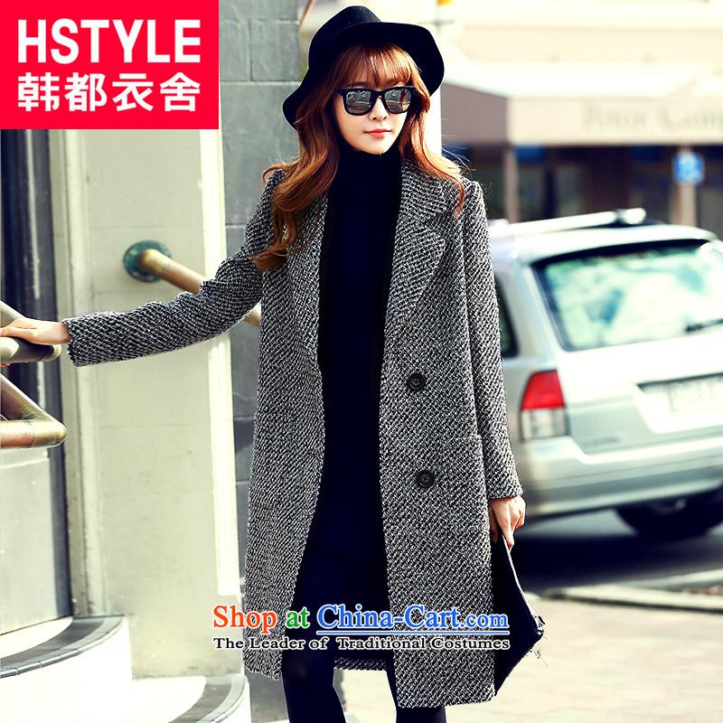 Korea has the Korean version of the Dag Hammarskj鰈d yi 2015 winter clothing new women's thick tweed Sau San lapel long hair?2爂ray jacket OI5046燤