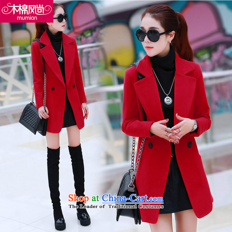 The Kapok�8_2015 fashion autumn and winter new Korean? long in gross long-sleeved solid color jacket Sau San Red燲L