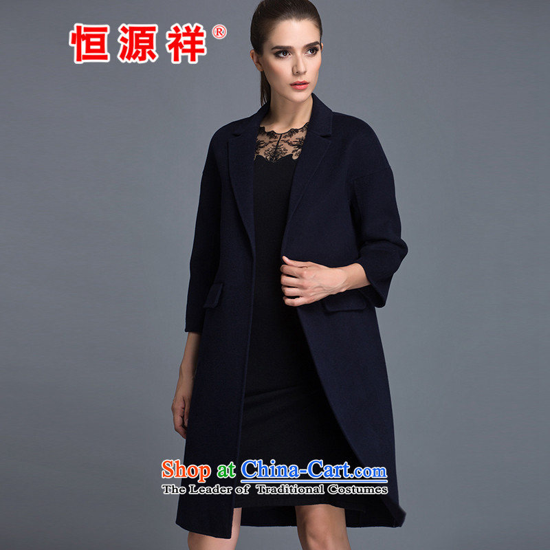 Hengyuan Cheung�0_ Pure Wool double-side COAT 2015 autumn and winter Ms. new long hair? Navy燬 Jacket