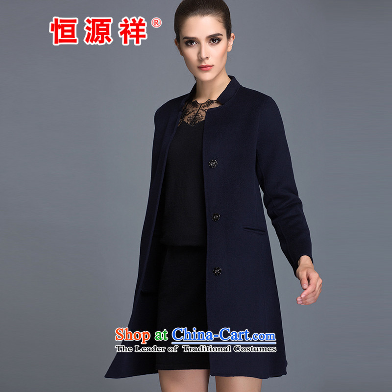 Hengyuan Cheung100_ Pure Wool double-side COAT 2015 Ms. New Version won long hair? navy blue jacketM