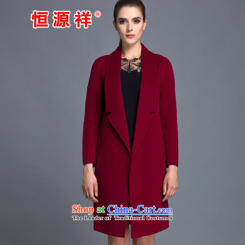 Hengyuan Cheung100% Pure Wool double-side COAT 2015 autumn and winter new Korean president in the long hair? jacket, dark redM