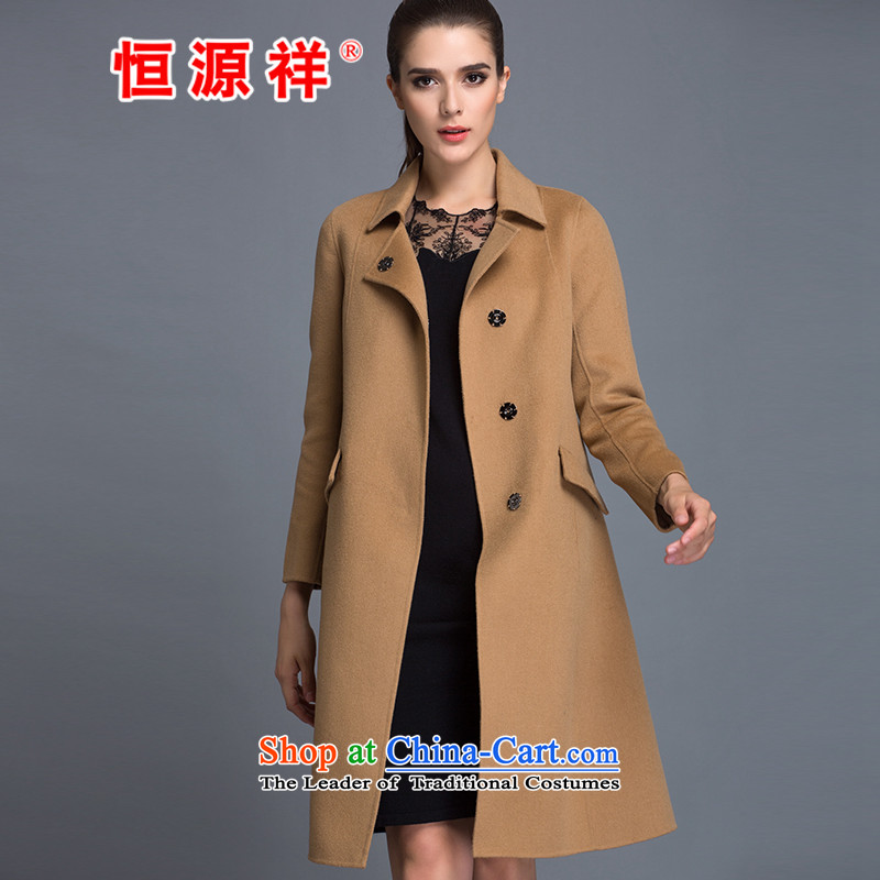 Hengyuan Cheung 100% Pure Wool double-side COAT 2015 Ms. New Version won long hair and color jacket? L
