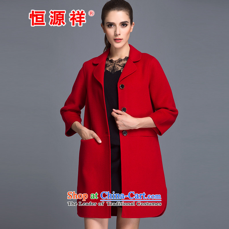 Hengyuan Cheung�0_ Pure Wool double-side for autumn and winter coats the new President won version long gross? jacket RED燤