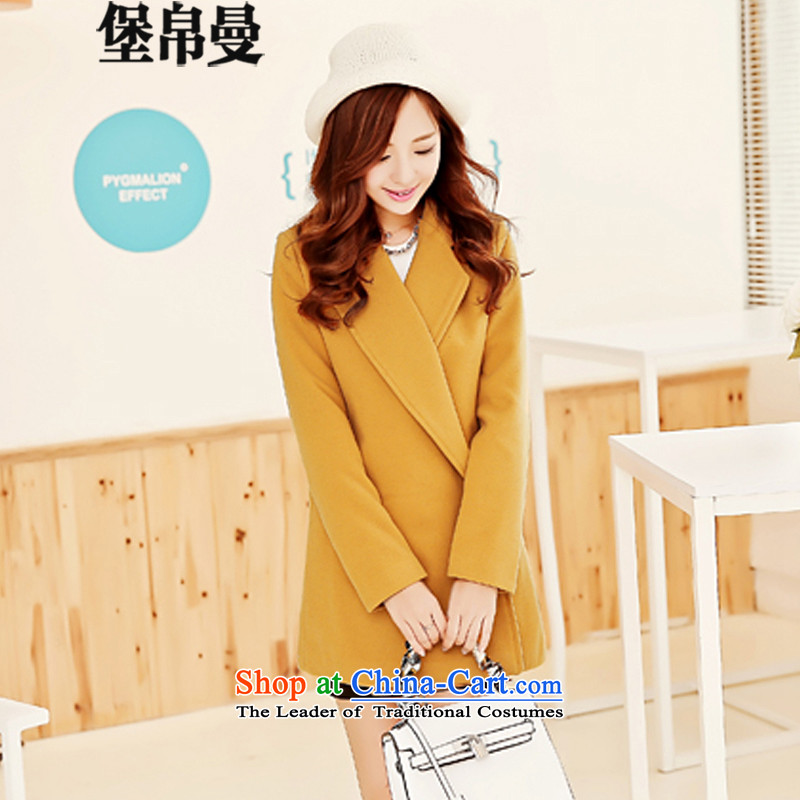 9Cayman�15 Fort autumn and winter new Korean female decorated in the body of this long coats�56爐urmeric yellow燬