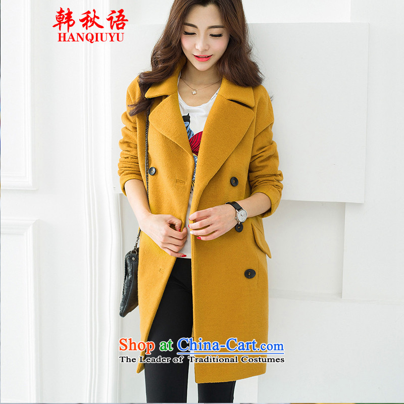 The Korean autumn 2015 gross new language? jacket for autumn and winter in Korean long a wool coat female winter clothing HQY107 Sau San Yellow M