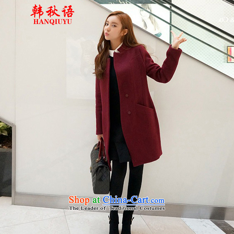 Korean autumn 2015 Fall_Winter Collections in the new version of the Sau San over the medium to longer term won for women?? jacket coat Ms. HQY802 gross female wine red燤
