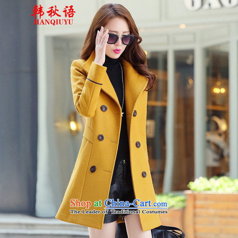 Korean autumn in Arabic of autumn and winter 2015 new Korean women in long hair? female suits for jacket for larger a wool coat female HQY6522 Yellow?M