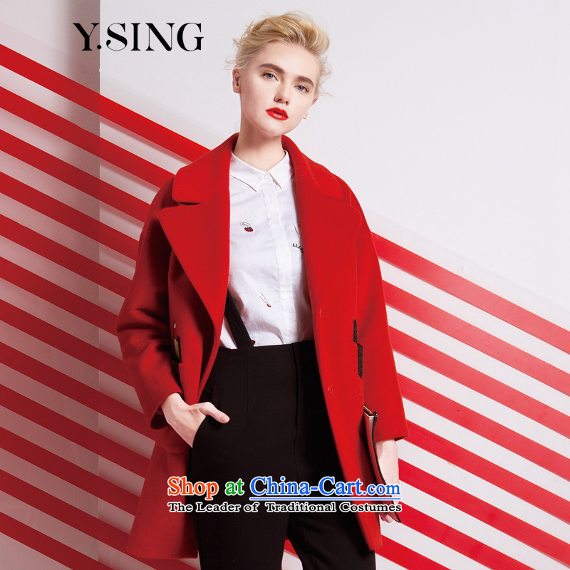 The same model 2015 Mall for winter New Europe and the auricle of the wind-minimalist wool a overcoat female red XS _11_