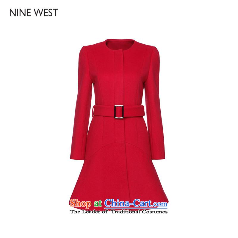 Nine west_ Ko Yo-hee 15 new temperament of winter waist wool coat 305155A908 gross? red 1N5 6
