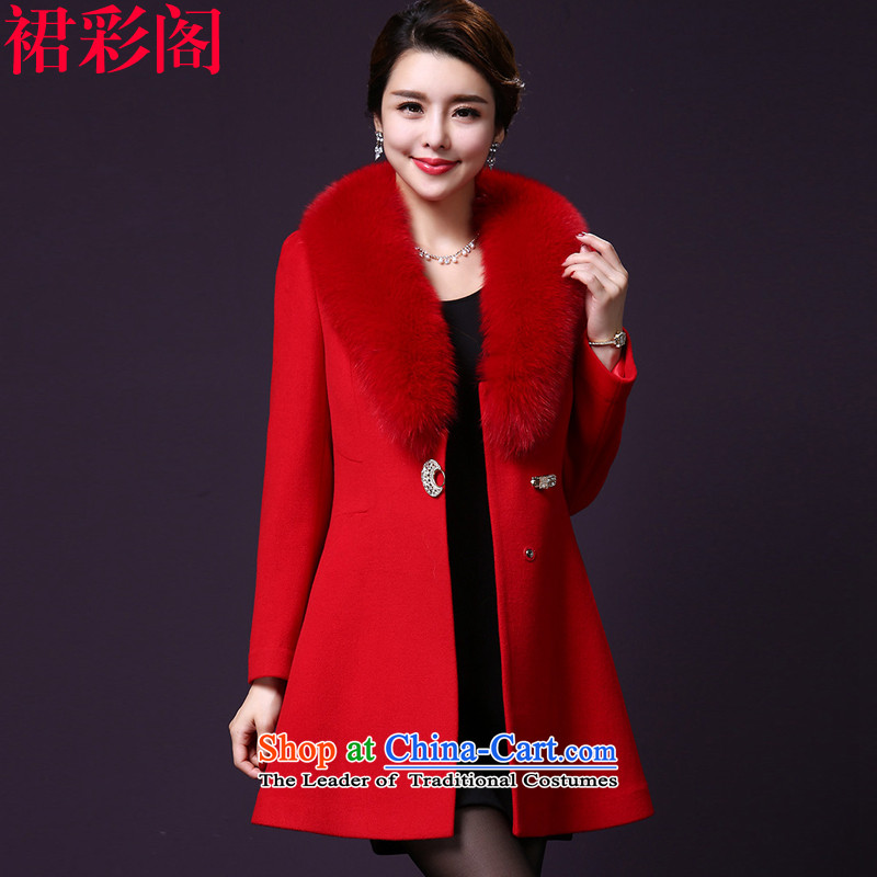 The Multimedia Room 2015 Is skirt coats female Korean winter thick new larger gross?   Gross? female jacket coat in long 1609 Red2XL