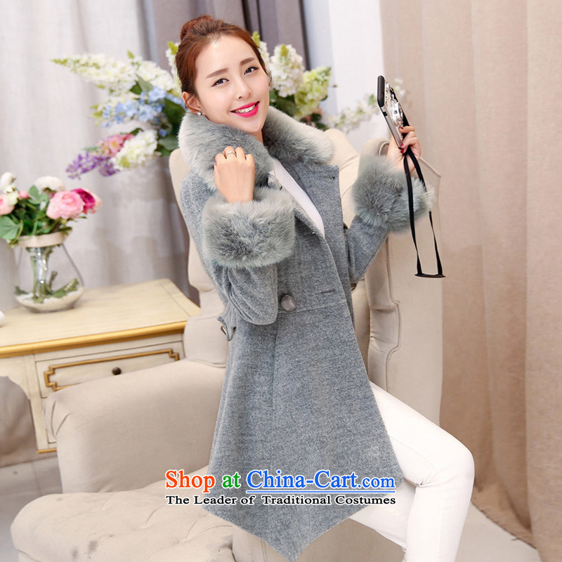 In the Hyatt gross girls jacket? Long Wave autumn and winter 2015 winter clothing new Korean women's gross for coats WAA GRAY M?