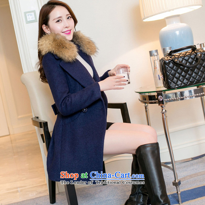 In the autumn and winter Yue New in thick long Sau San a wool coat WA navy M