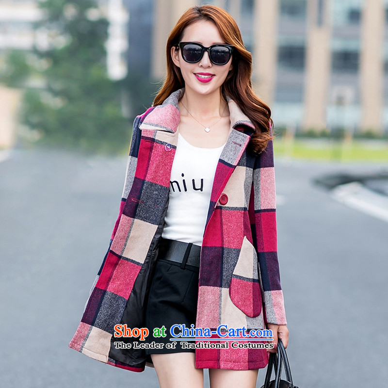 In�15, at the autumn and winter new Korean double-checked in gross? jacket long a wool coat燱A爌icture color燣