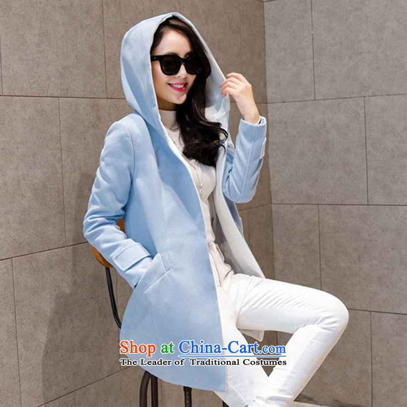 In the new paragraph Yue Korean large Sau San Mao jacket Female Cap? cloak over the medium to longer term gross flows of coat? WA light blue L