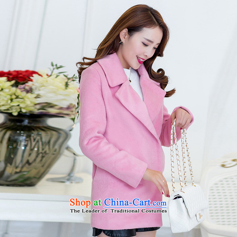 In the autumn and winter Yue new Korean Version_? sub cocoon long-pink coat WA pink gross? XS