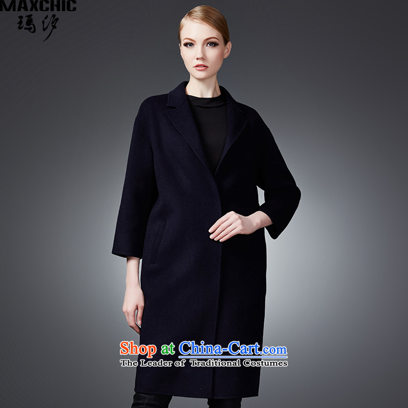 2015 winter Princess Hsichih maxchic simple yet elegant high-end double-side wool coat 22852? Blue?M