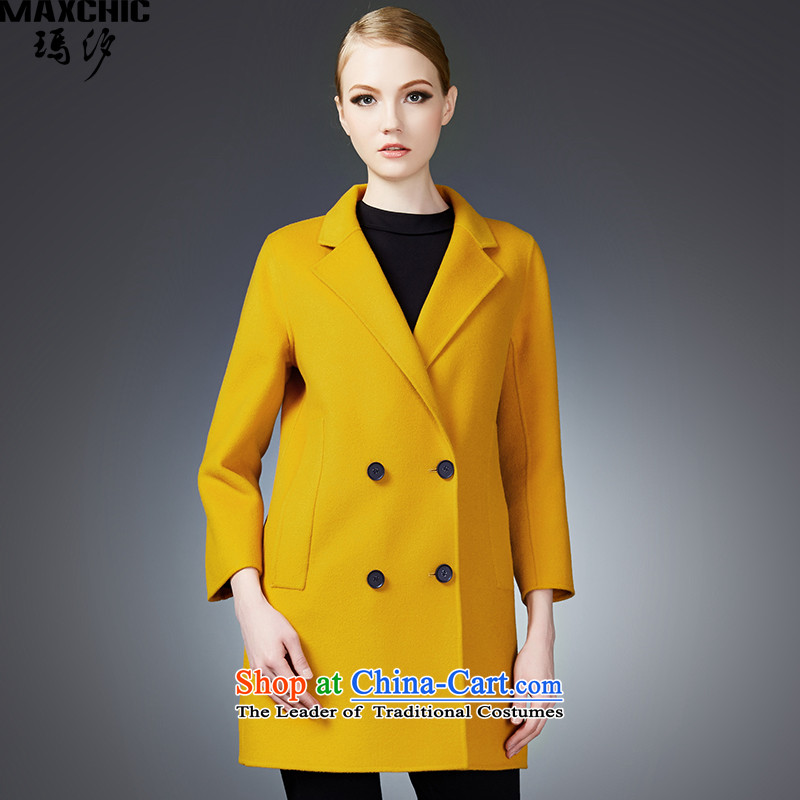 2015 winter Princess Hsichih maxchic is simple and stylish, double-suit for double-side wool coat jacket 22782? Yellow M