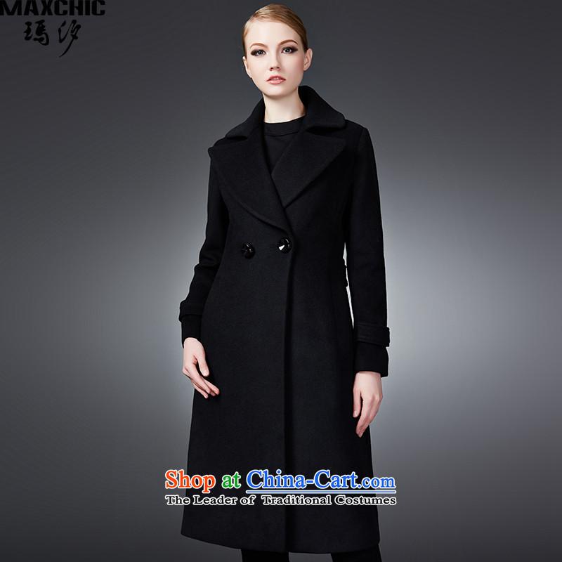 2015 winter Princess Hsichih maxchic large roll collar double-Sau San long wool coat female jacket? 22,622 blackL