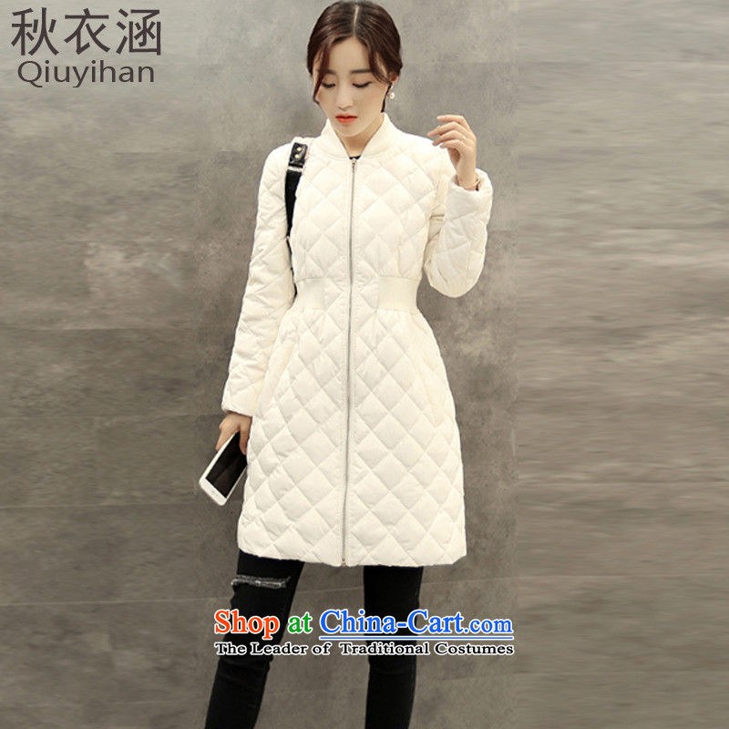 Adam Cheng Yi covered by�15 winter new larger in the thick of the Argyle Cotton coat feather thin graphics jacket爋r 5,698 by female爉 White燤