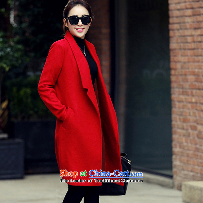 In?2015, at the autumn and winter new Korean female decorated gross? graphics are overcoats in thin long a wool coat?WAA?RED?L
