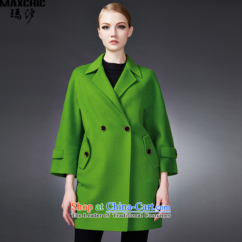2015 winter Princess Hsichih maxchic suit for double-lok rotator cuff double-side woolen coat female 22772 jacket green L