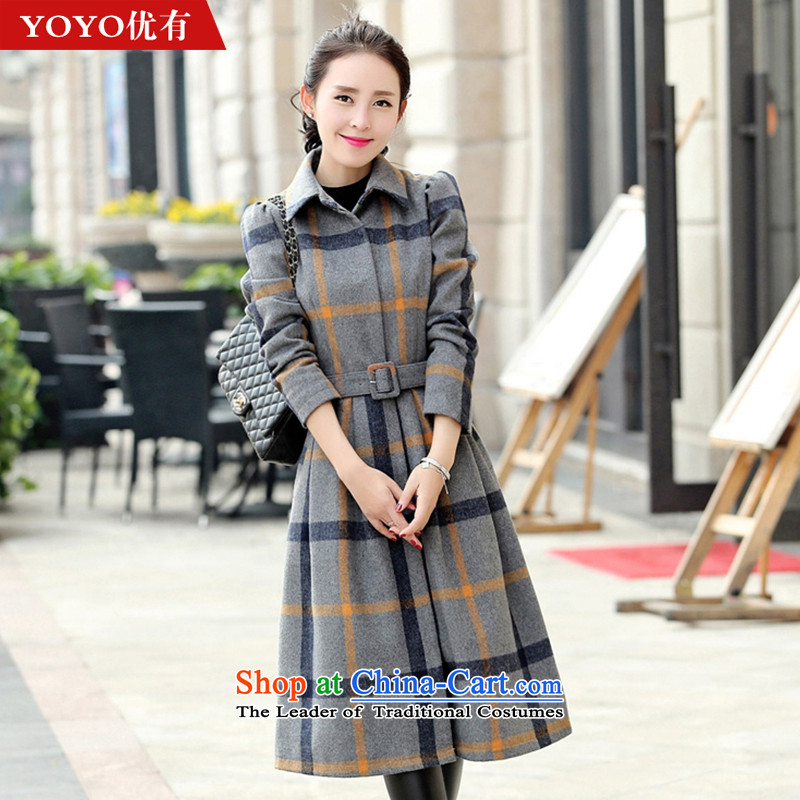 The YOYO optimization with 2015 Winter new stylish latticed gross long-sleeved jacket dresses? female V1831 gray cells M