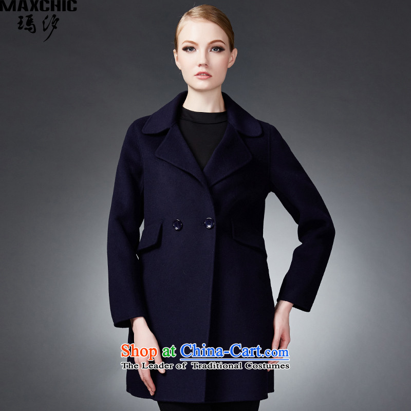 2015 winter Princess Hsichih maxchic counters genuine fashion, double-double-side wool coat female 22842? blue L