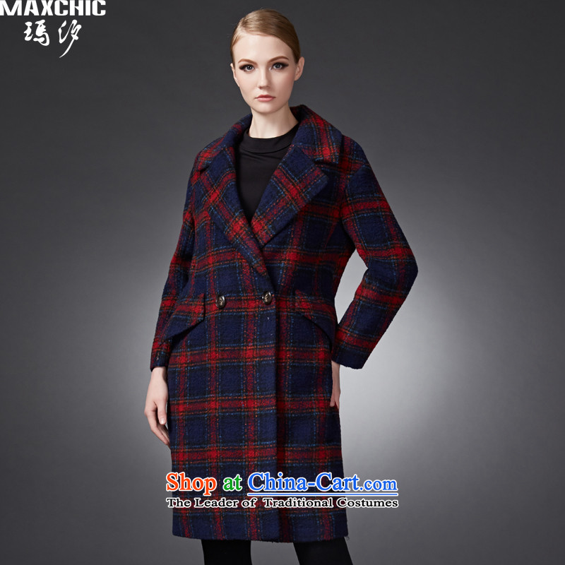 2015 winter Princess Hsichih maxchic trendy large roll collar Plaid Print wool coat girl was 22,952 Red? M