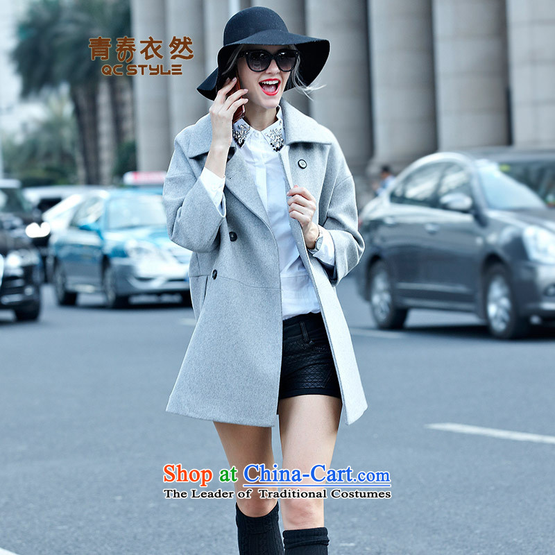 Youth Yi So 2015 autumn and winter New Women Korean jacket Sau San solid color roll collar double-coats female gray hair?聽L