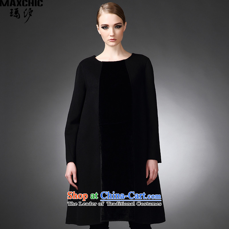2015 winter Princess Hsichih maxchic western minimalist round-neck collar large A swing after a long-sleeved gown wool coat Region totals 21,842 Black燤?