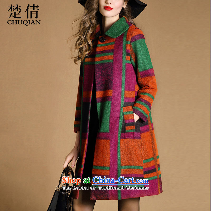 Chu Chien�15 autumn and winter new gross girls jacket? long high-end loose grating suit coats XL