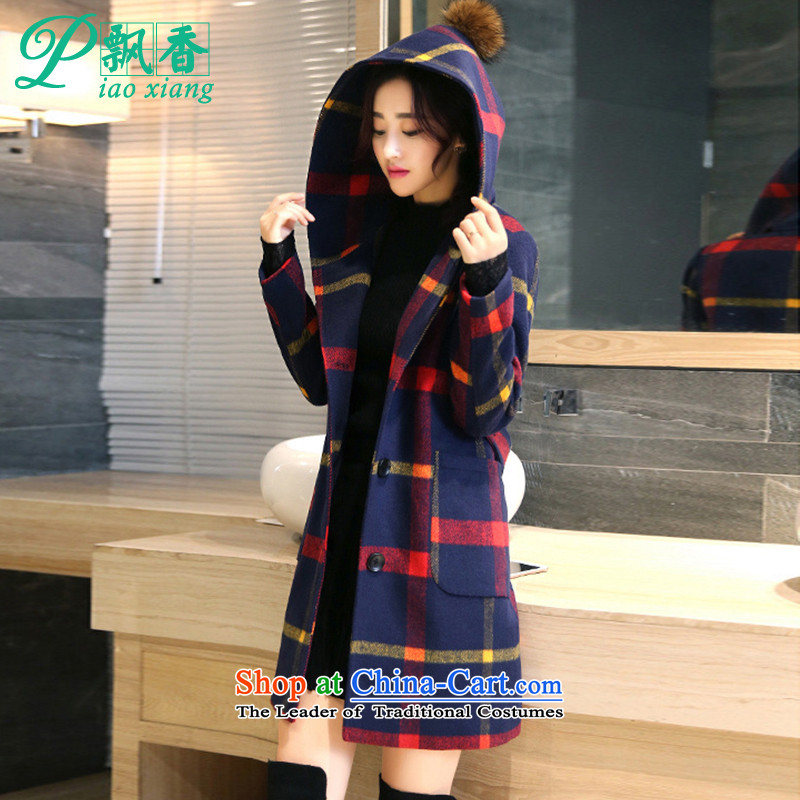 .2015 scented winter new elegant grid with cap jacket coat V1833 gross? Red and Yellow Tartan S