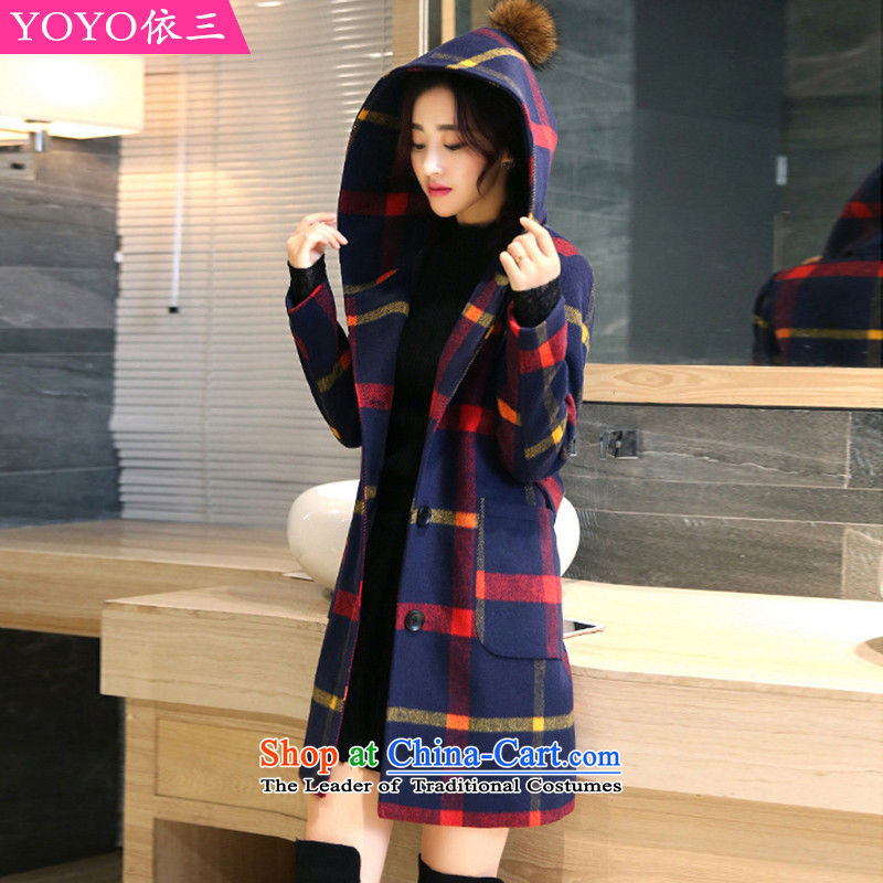 The YOYO optimization with 2015 Winter New elegant grid with cap jacket coat V1833 gross? Red and Yellow Tartan XL