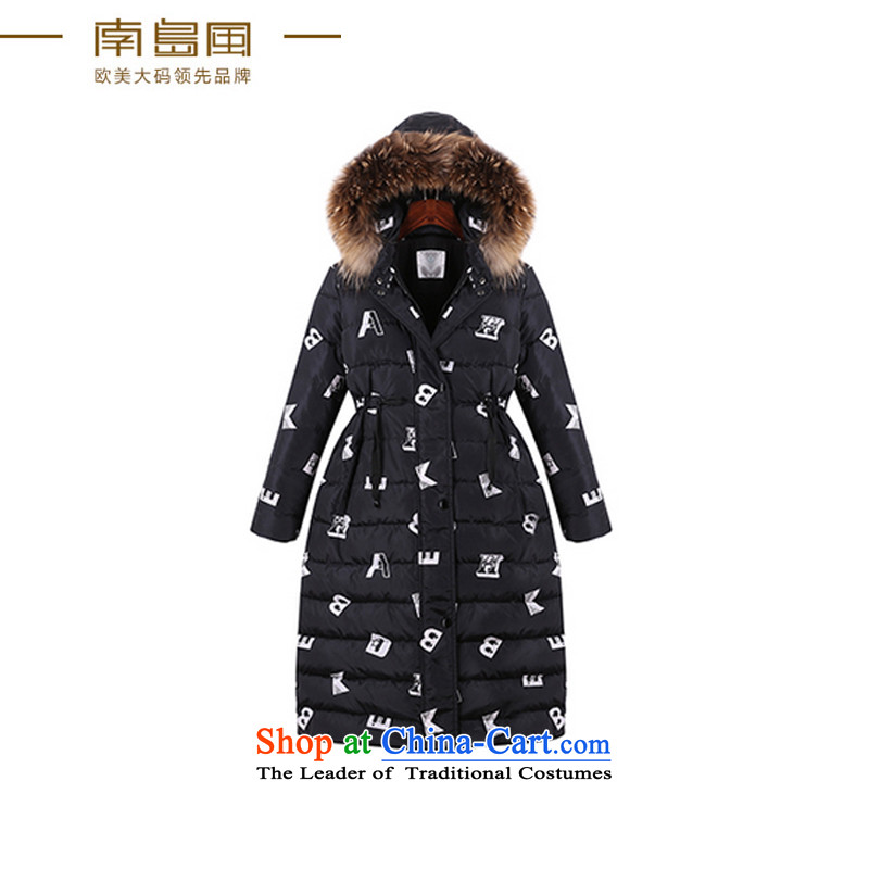 The South Island of New Europe and the 2015 wind larger female thick mm winter clothing with cap down over the medium to longer term ãþòâ female jacket, black large code 4XL