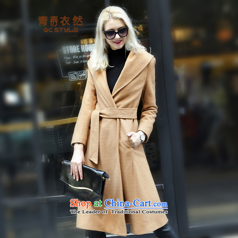 Youth Yi So women on the 2015 Winter Olympics women's western new coats, wool? long hair? the tether strap jacket lapel Sau San pure color a wool coat female card itsL