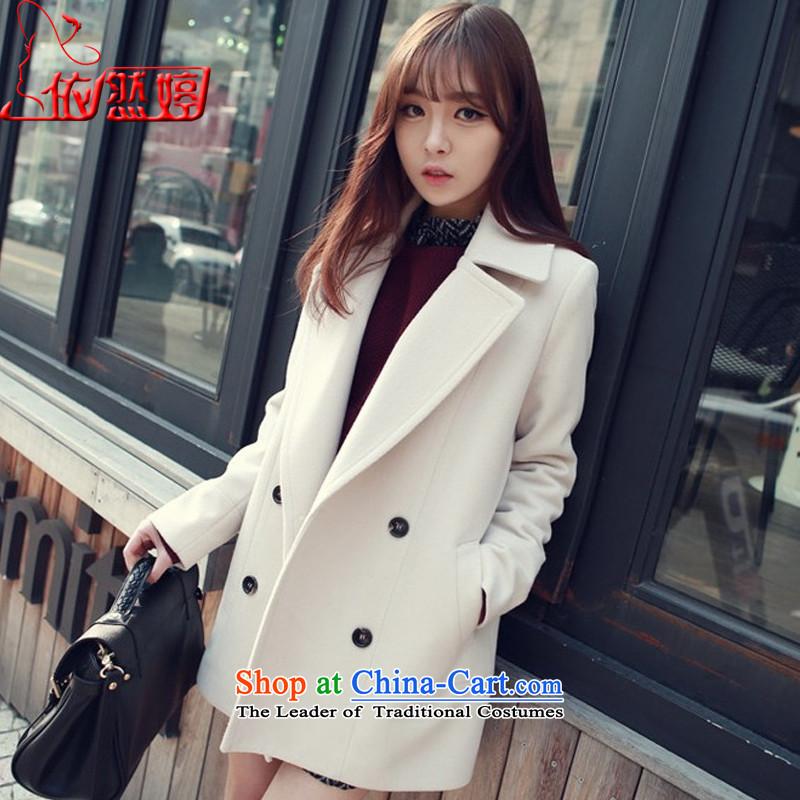 燭he autumn 2015_ still ting female body hair is decorated jacket female white燣 M 7727X