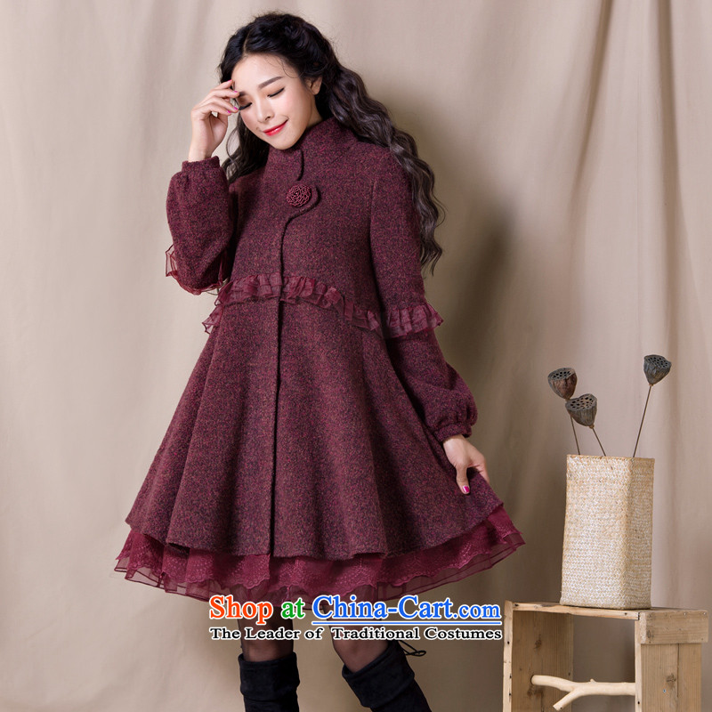 Fireworks Hot Winter 2015 new women's loose waist lace stitching gross Yan Lam Jacket coat? Stray dots of dark red M pre-sale for 35 days.