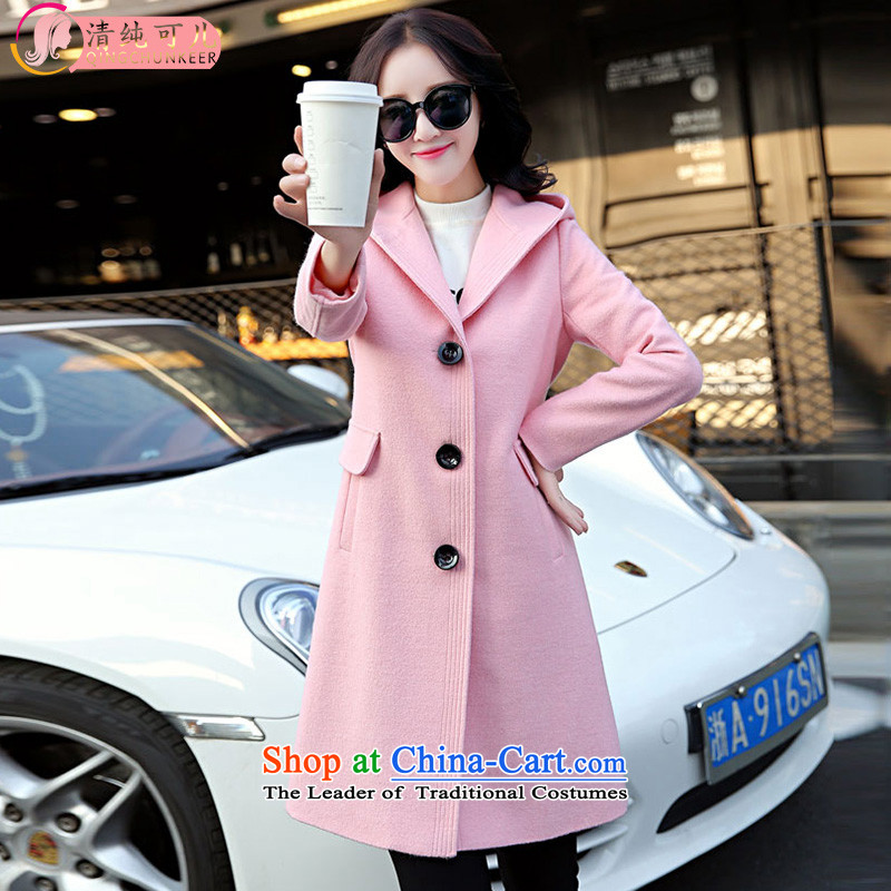 Pure kako gross? female Korean version of the jacket long 2015 autumn and winter New Sau San minimalist a wool coat female Sau San video thin coat pink燤