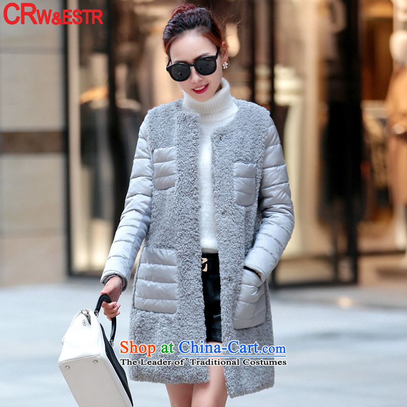 Crw new wind Europe 2015 Sau San video in thin long hair? jacket stitching larger female cotton coat gray燬