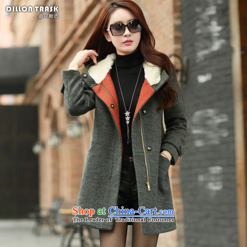 Durond, 2015 gross autumn and winter coats? new women's Korean jacket Sau San connected? gross cap in long cap a wool coat _C.O.D._ Gray燣