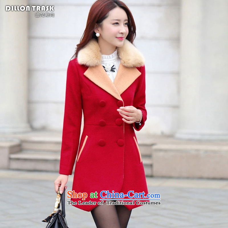 Durond, 2015 gross female autumn and winter coats? new women's gross Korean? jacket double-color spell long suit for Sau San a wool coat female RED M