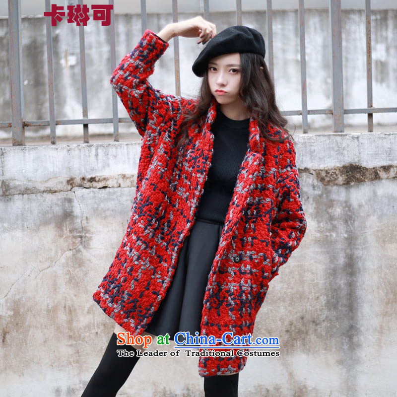 Carleen May 2015 Fall_Winter Collections new Korean female loose grating coats that long hair? jacket female red燣