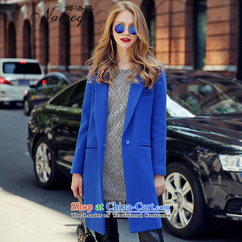 The angel of the 2015 autumn and winter new pure color woolen coat girl in long-sleeved long lapel a wool coat girls   Blue S