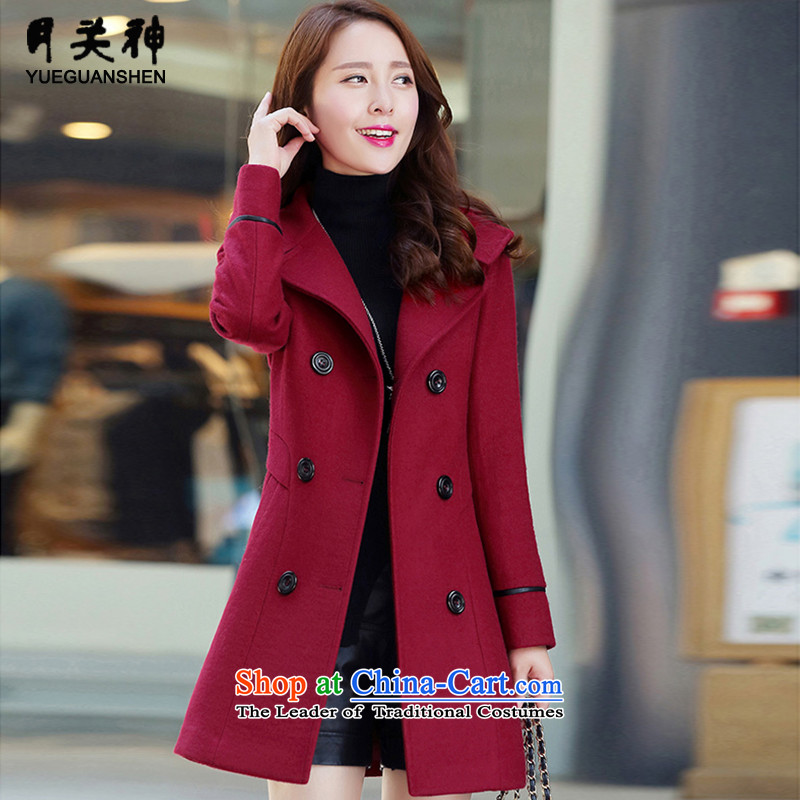 On God 2015 winter clothing new Korean fashion Sau San Mao? coats that long coats)? female 158.2 wine red L