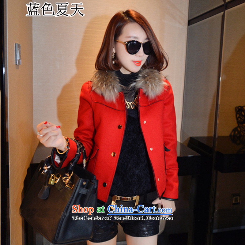 Blue summer, autumn and winter 2015 New Sau San Mao jacket female Korean? forever short of the amount so gross coats red聽XL