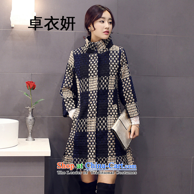 The fall of the new 7 1429_2015 Divided sleeve in Sau San long collar gross? female navy blue coat color L
