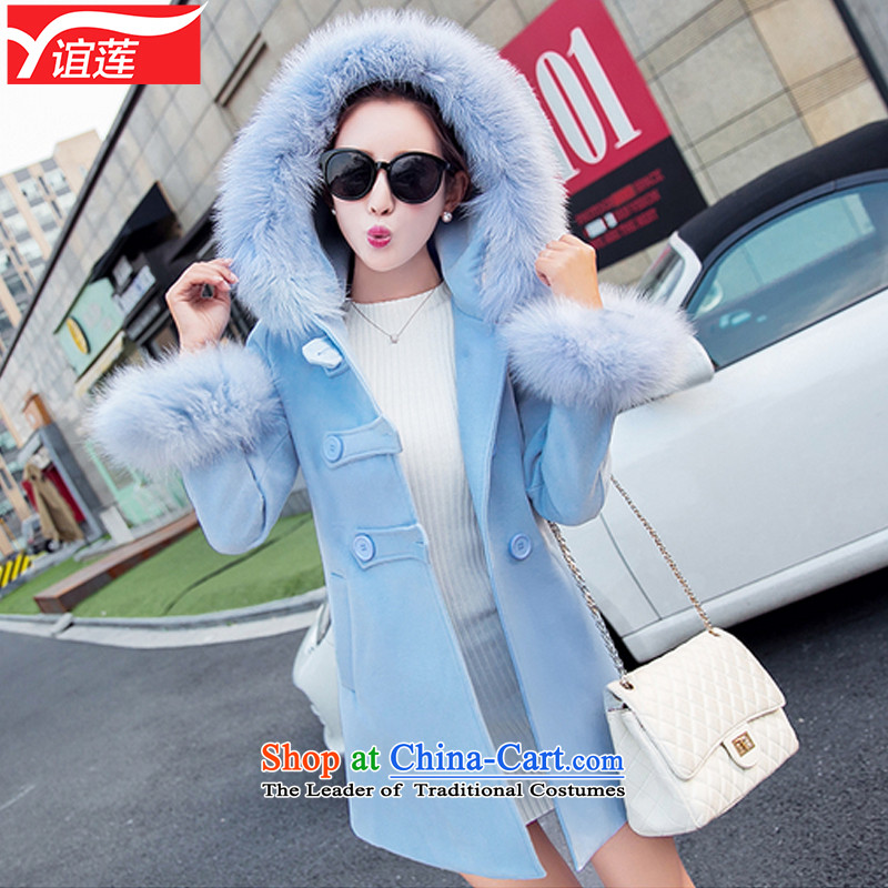 Yi Wu 2015 autumn and winter new Korean jacket in gross? Long Fox for gross a wool coat female third row detained Y8909 SKYBLUE L
