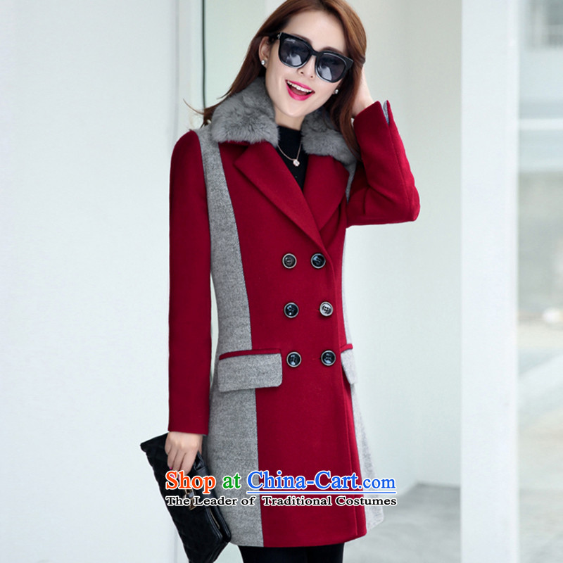 Wooden Geun-hye in double-long stitching knocked colors red M/160(84a) jacket 902?