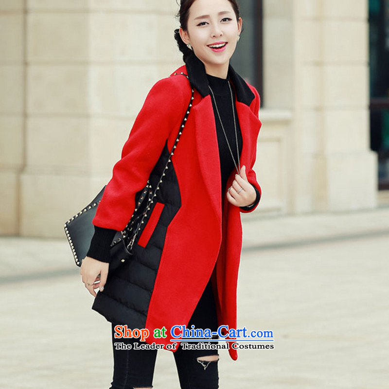 Wooden Geun-hye in long stitching cotton coat gross 336 red M/160(84a) cloak?